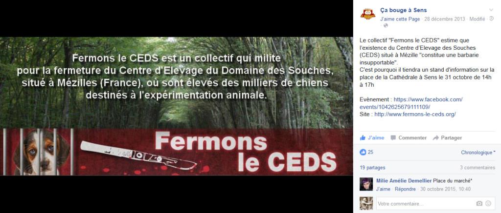 Annonce Ca bouge à Sens – 31 octobre 2015 – Fermons Le CEDS