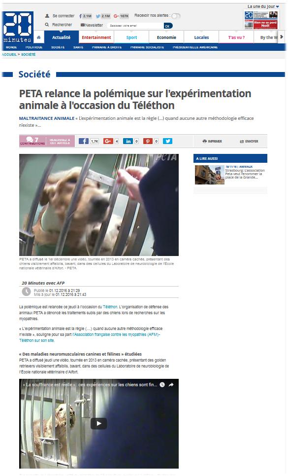 PETA relance la polémique sur l'expérimentation animale à l'occasion du Téléthon