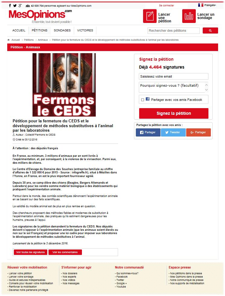 Pétition pour la fermeture du CEDS et le développement de méthodes substitutives à l'animal par les laboratoires